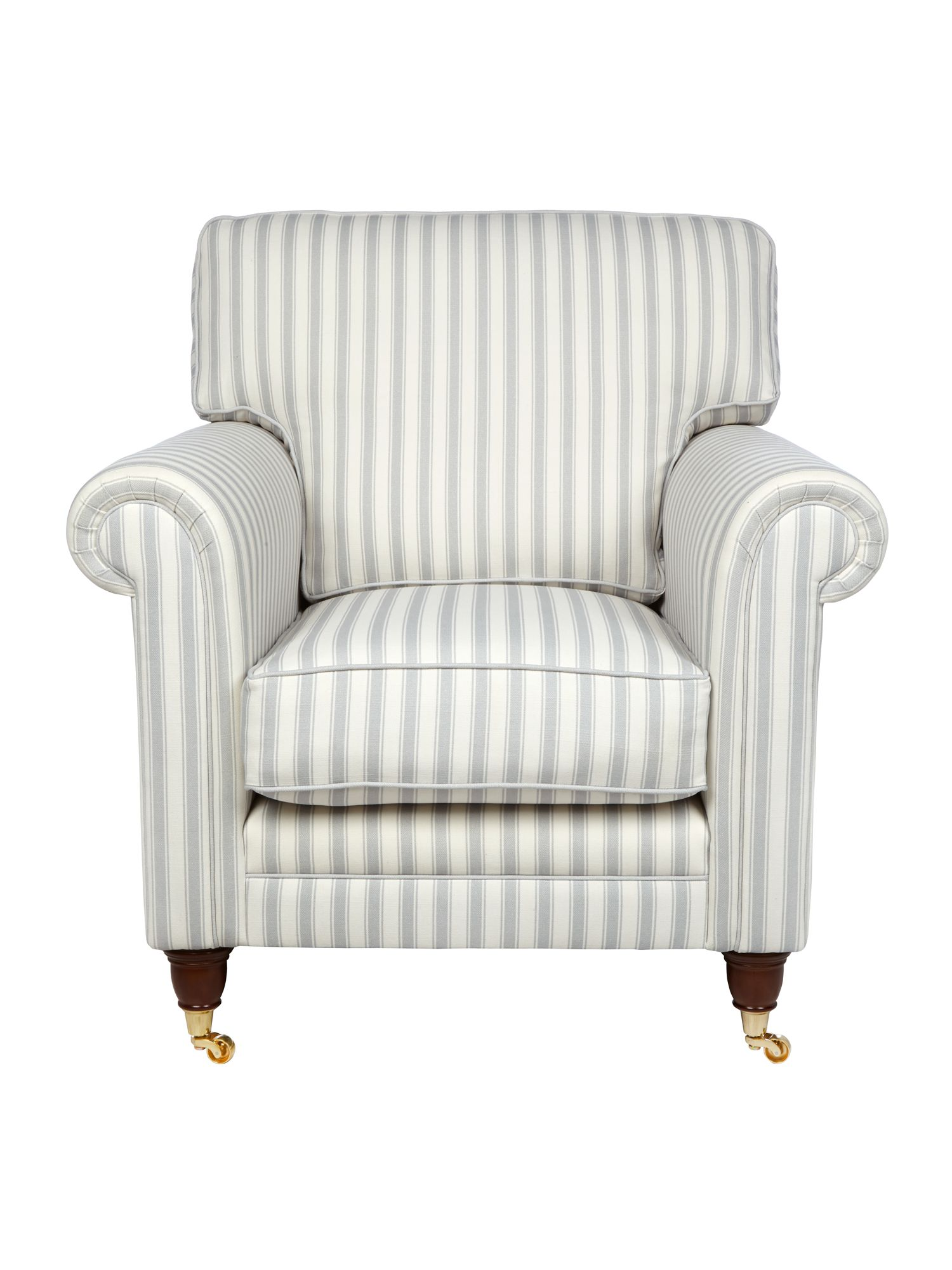Wiltshire grey stripe armchair