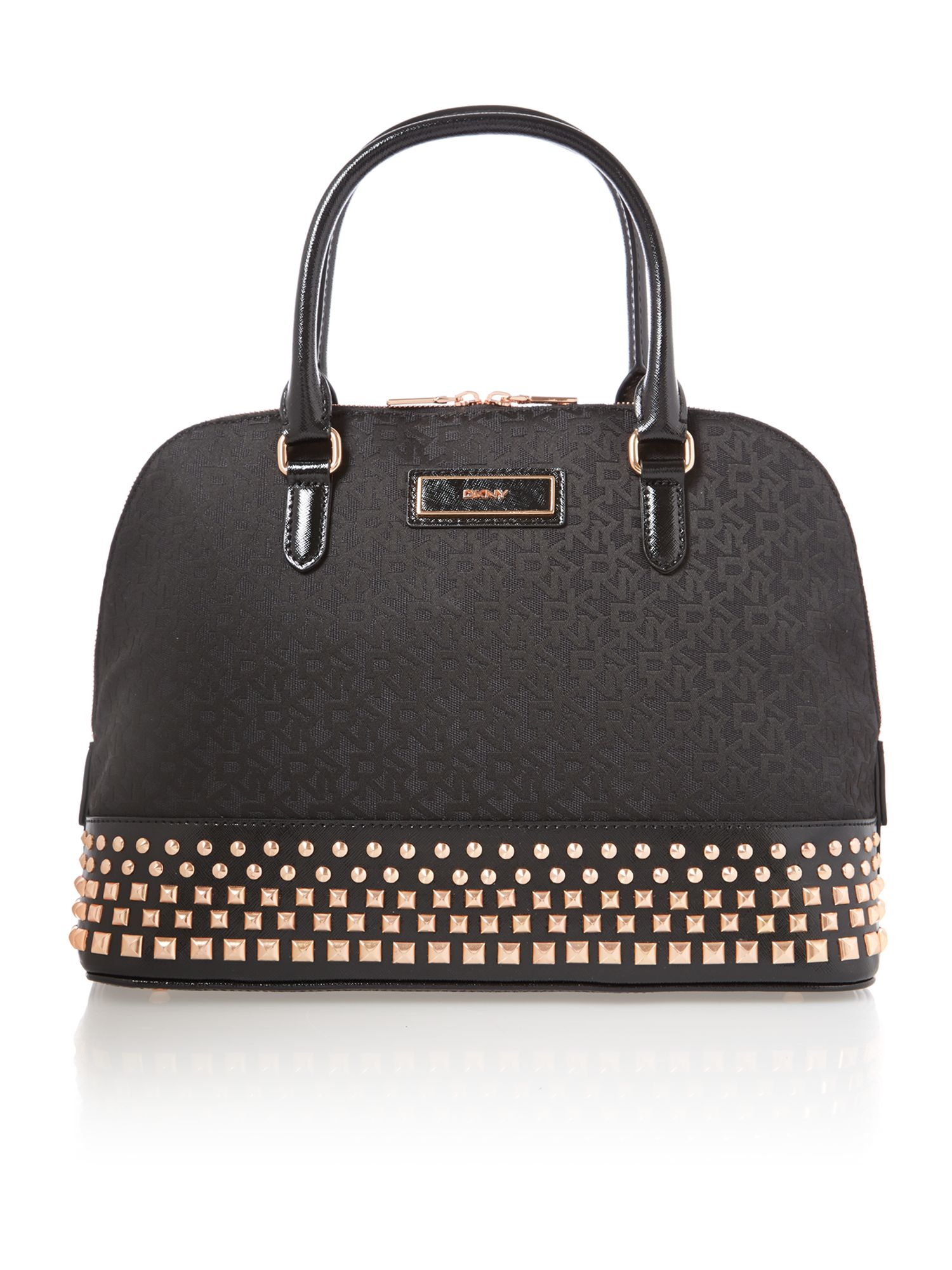 Saffiano black dome bag