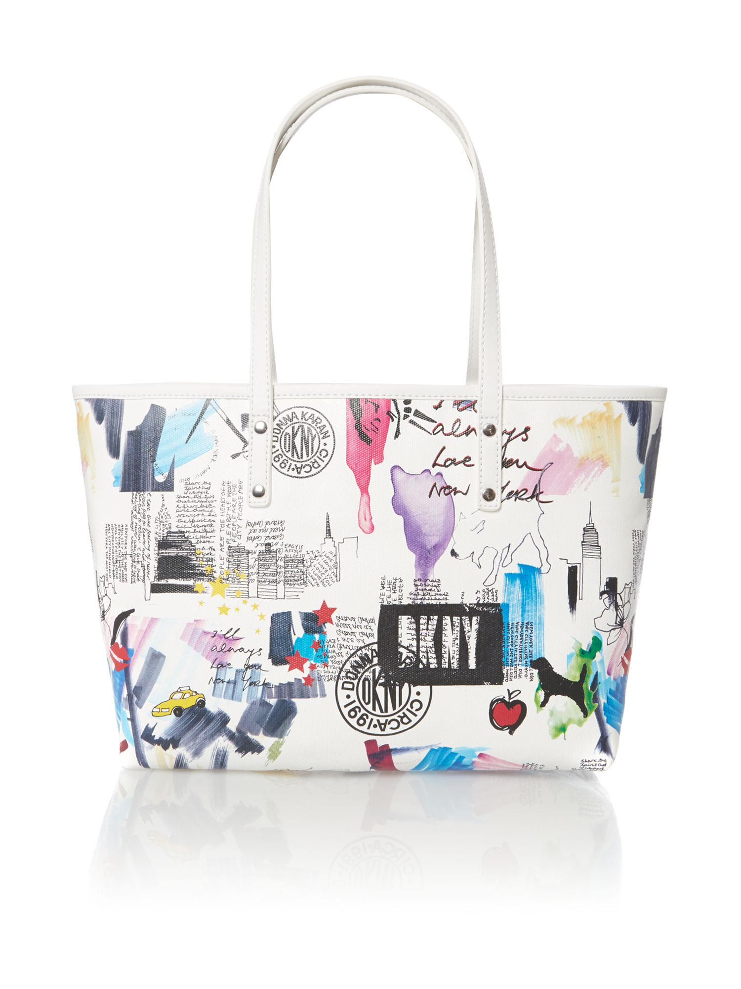 Multi-coloured small tote bag