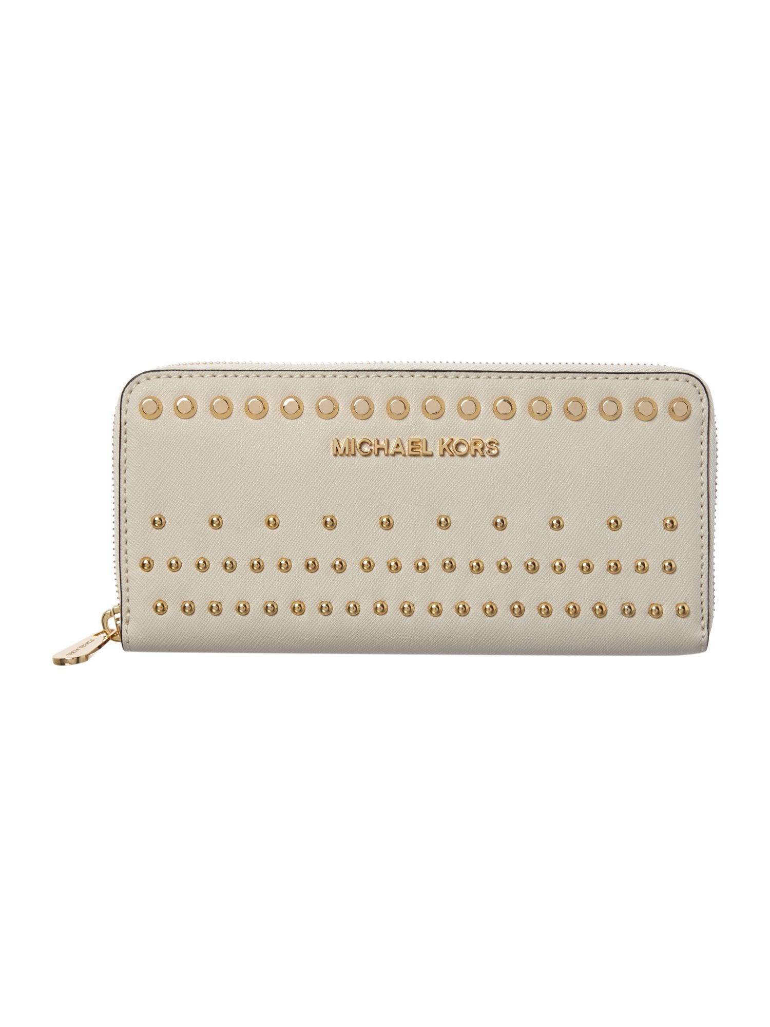 Jet Set Travel stud white large zip around purse