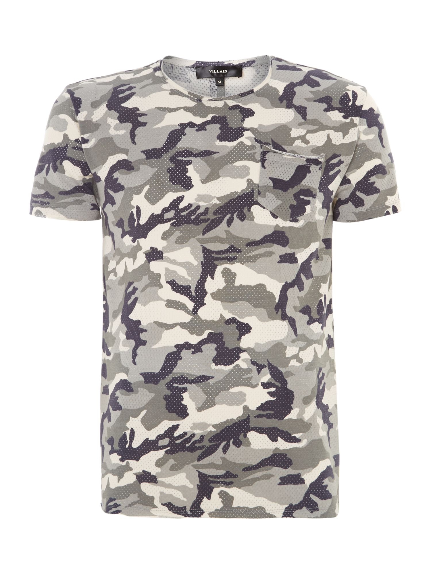 Perforated camo print t shirt