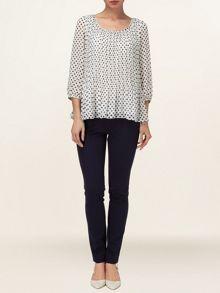 Jill spot pleated blouse