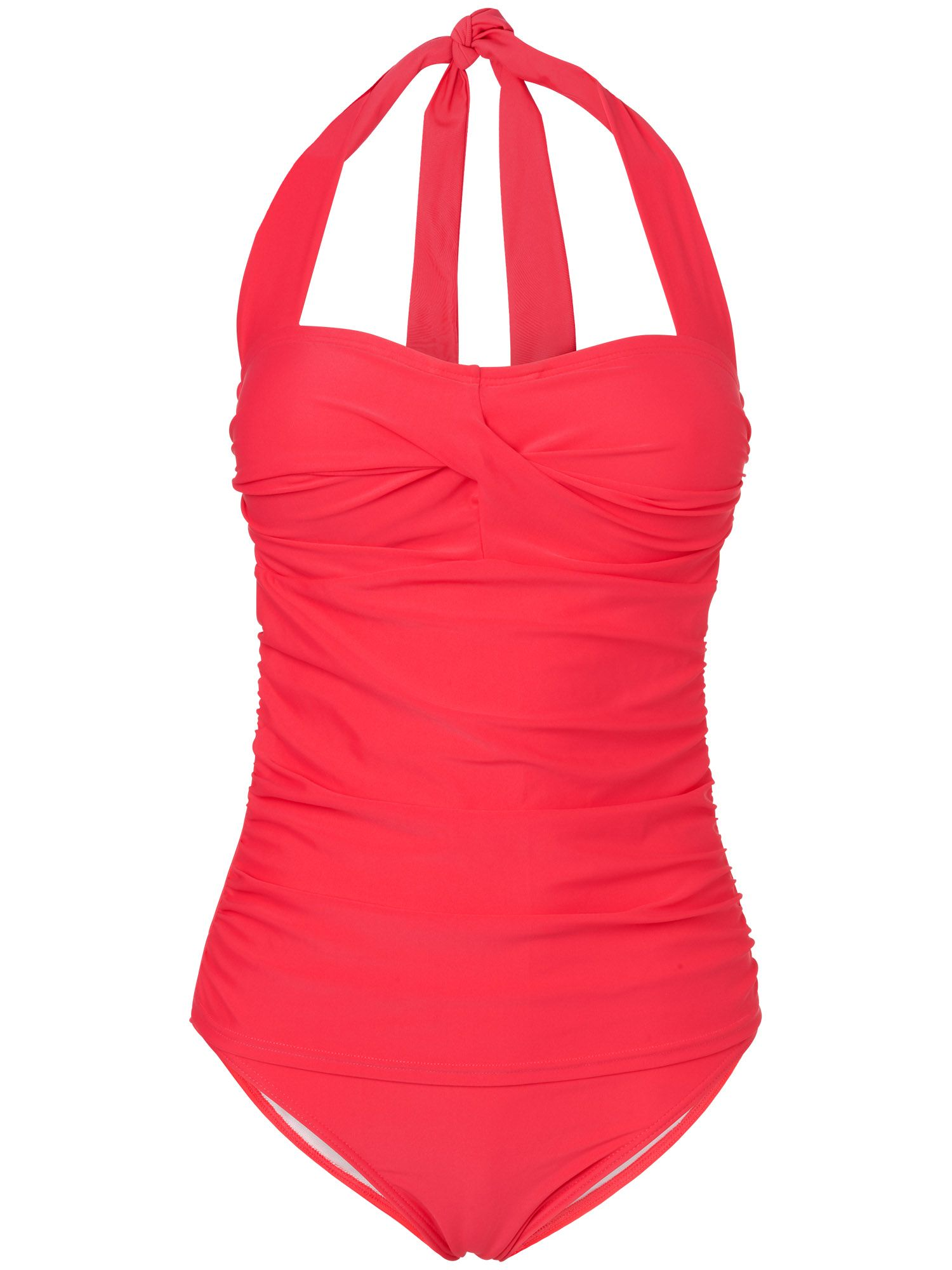 Twist front halter swimsuit