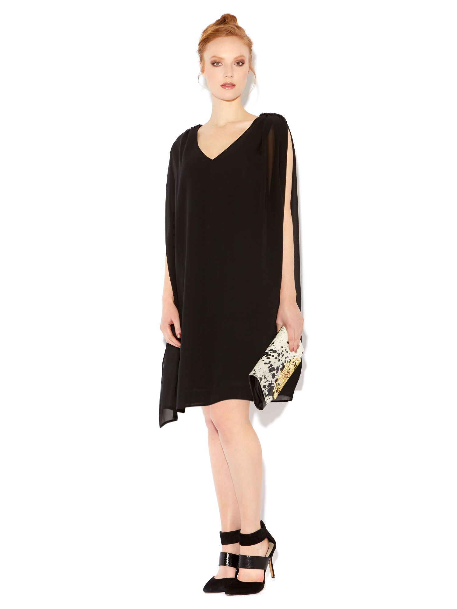 Sleeveless chiffon overlay dress with emb
