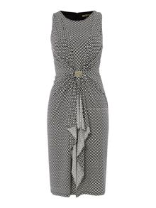 Geometric print hardware drape dress