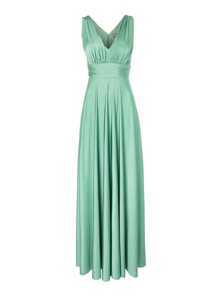 Biba Deep V full skirted maxi dress
