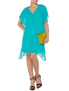 Chiffon overlay dipped hem dress
