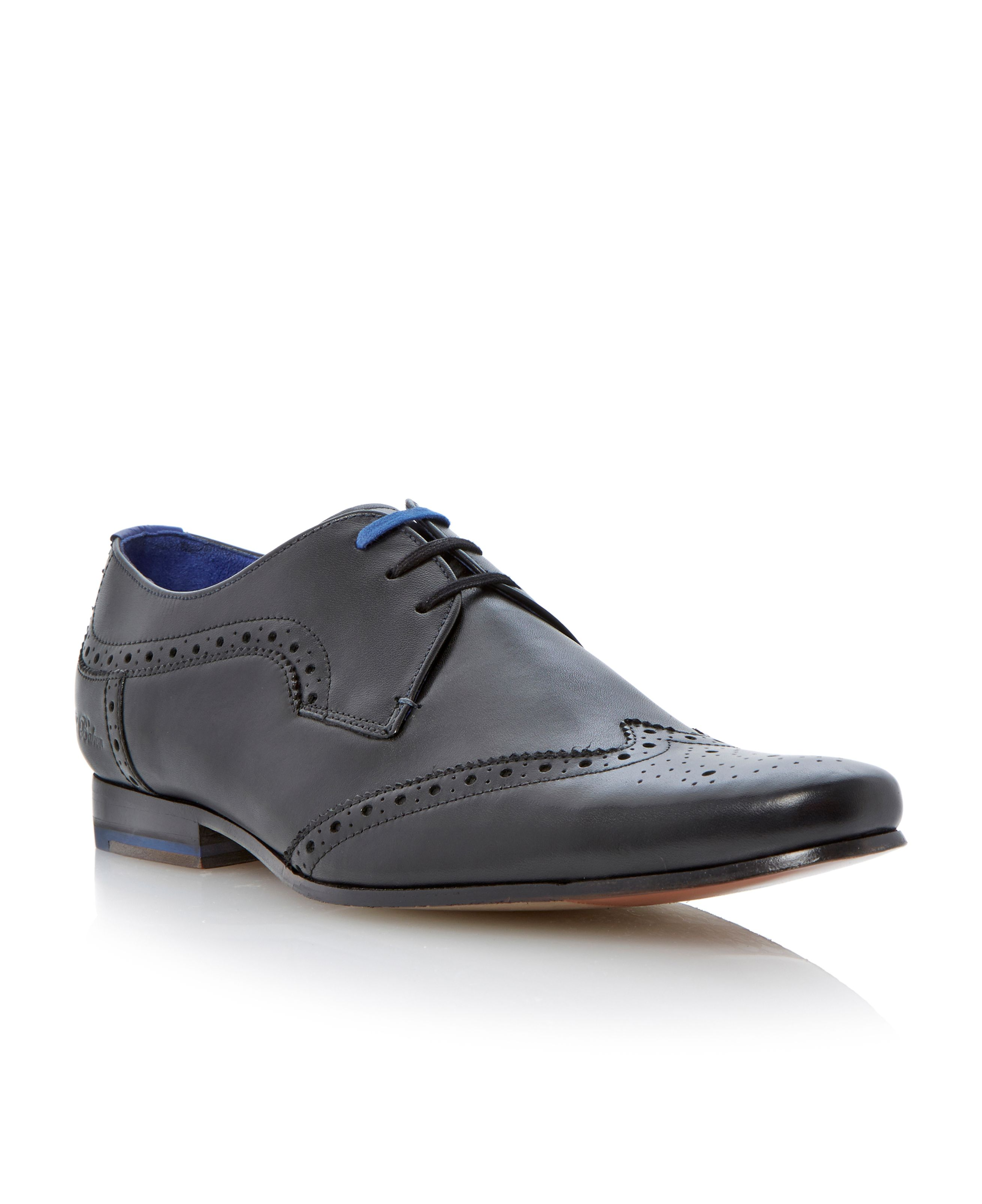 Hann brogue detail leather lace up shoe