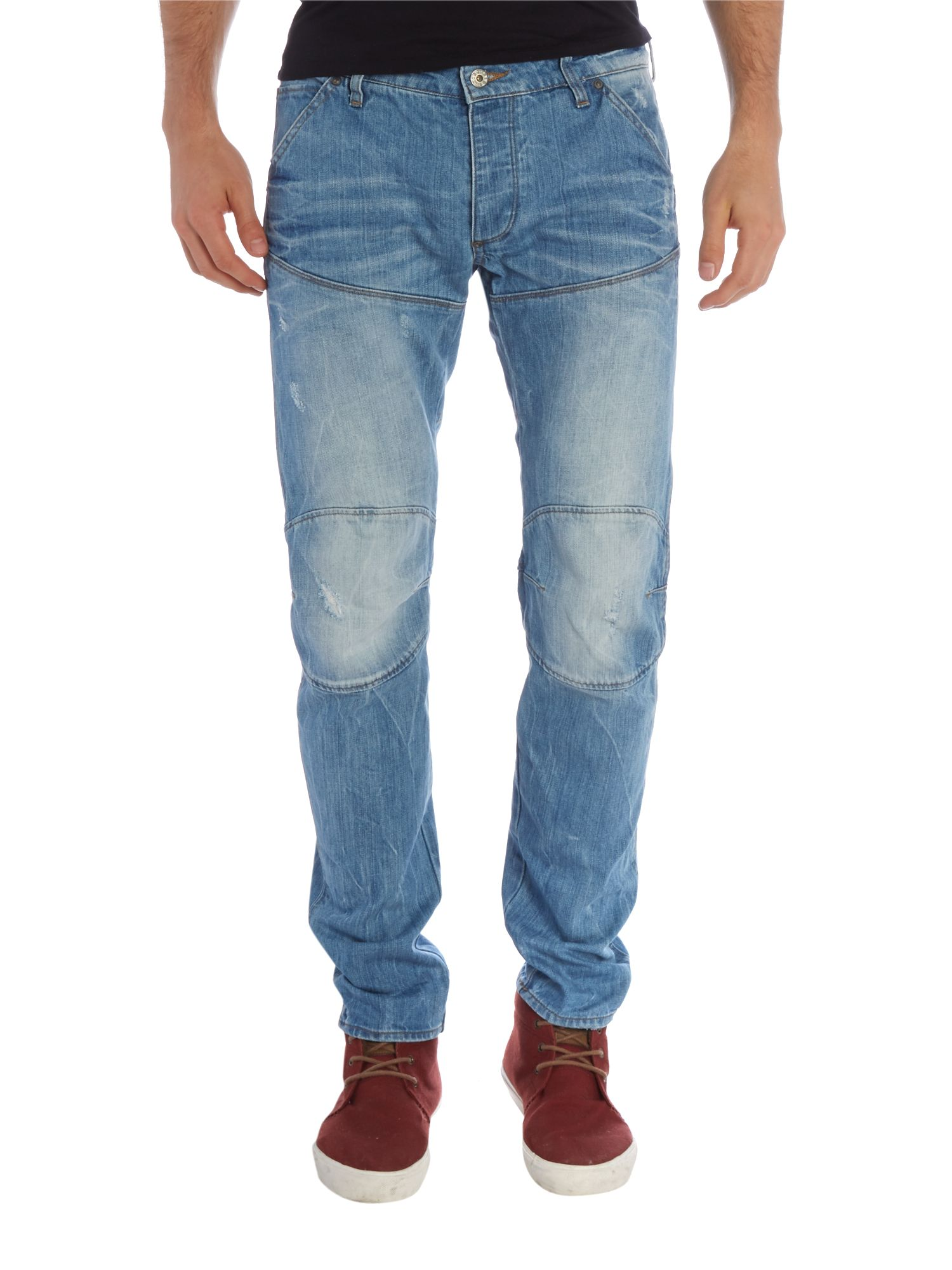 5620 tapered 3D aged denim jeans