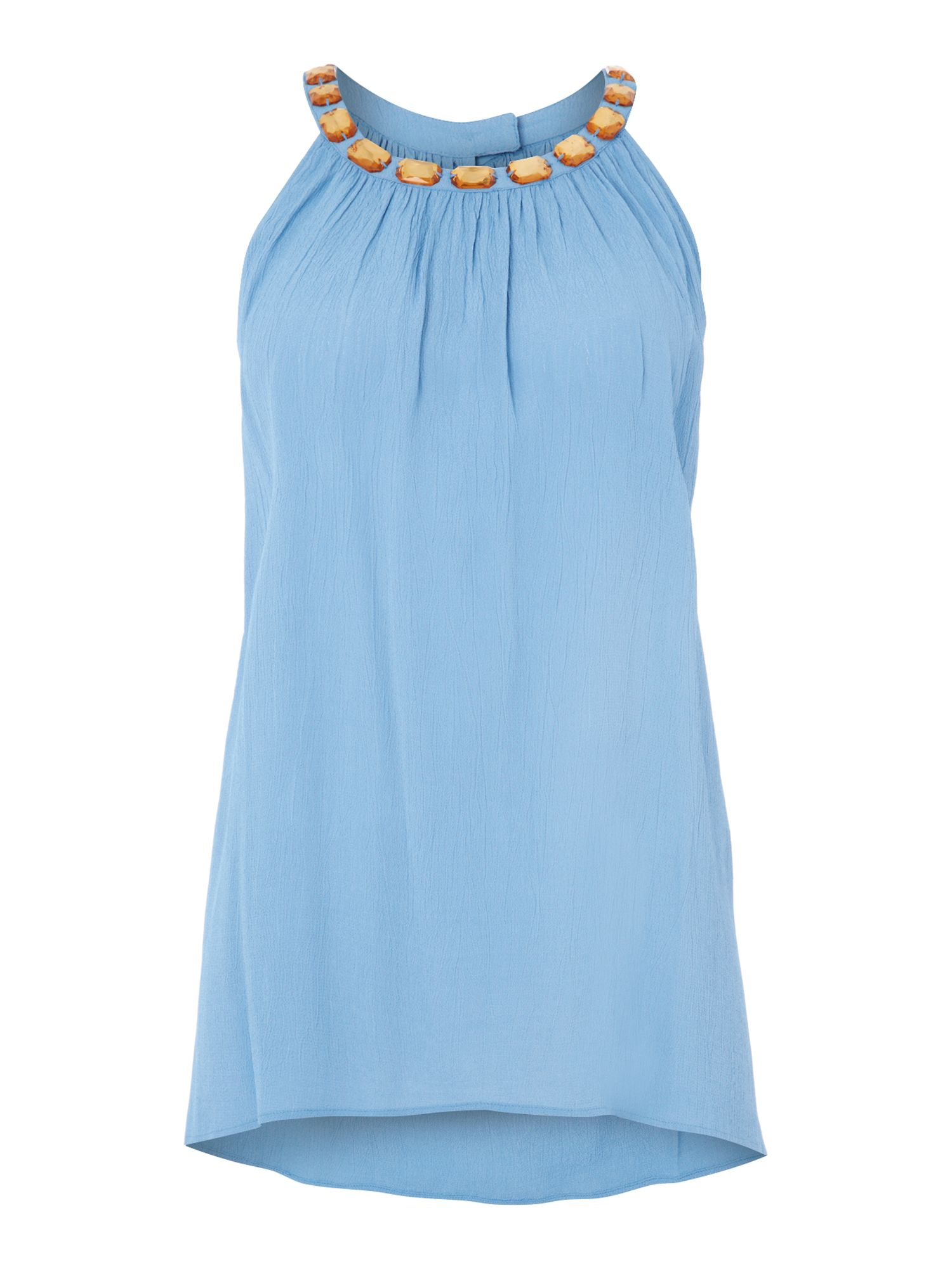 Sleeveless beaded swing top