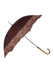 Fulton Eliza Leopard Print Border Walker Umbrella