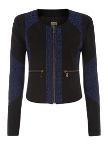Printed leopard panelled jacket