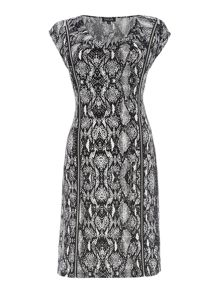 Print cowl dress with zip detail