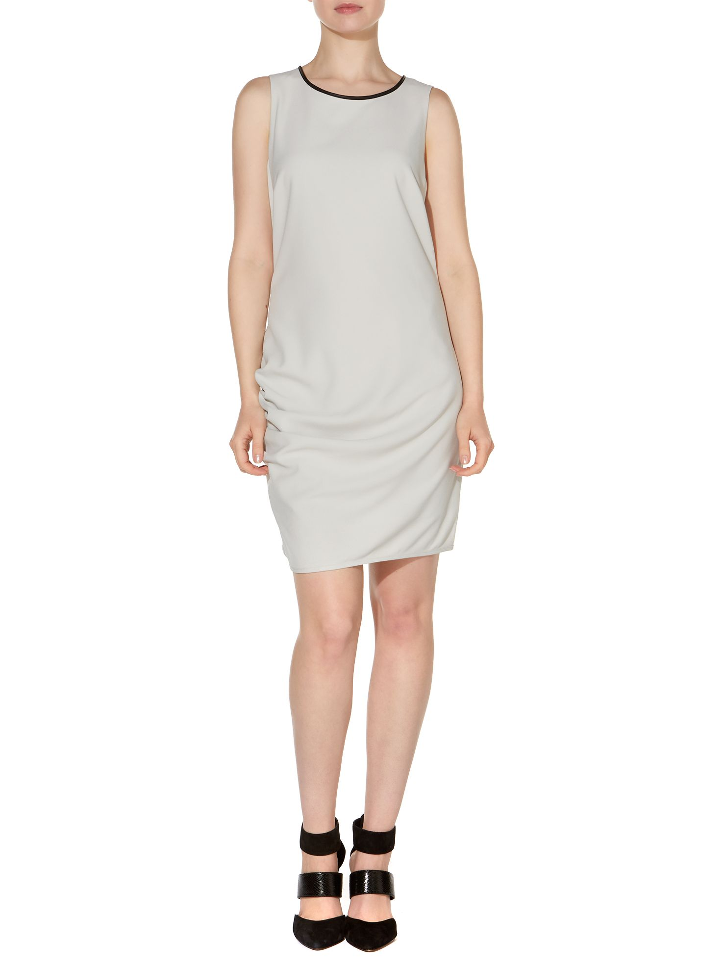PU Trim Woven Dress