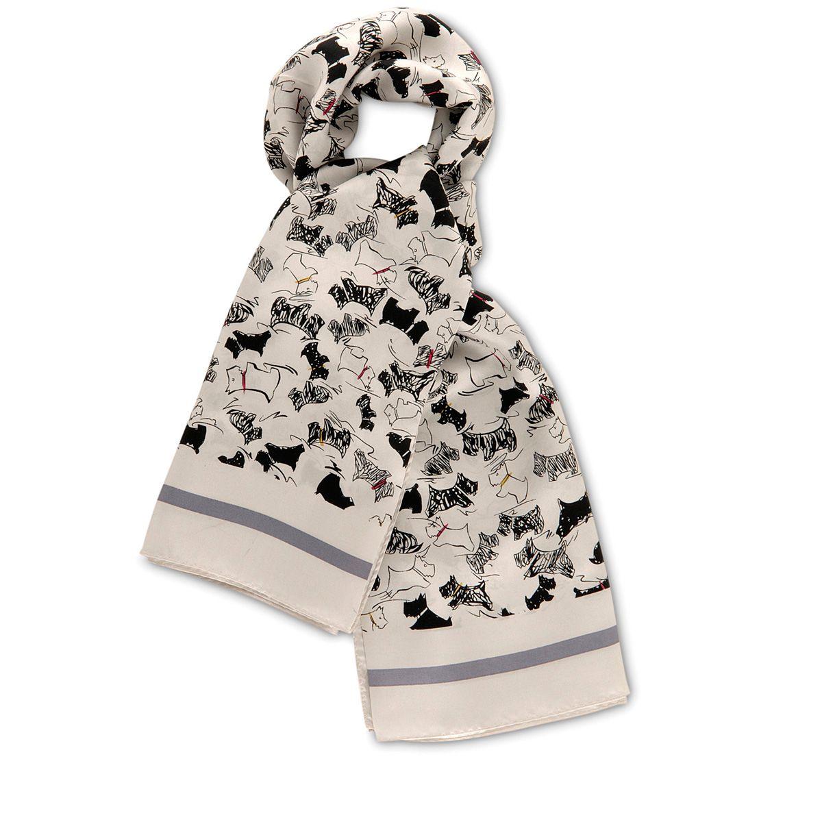 Scratchy dog silk square scarf