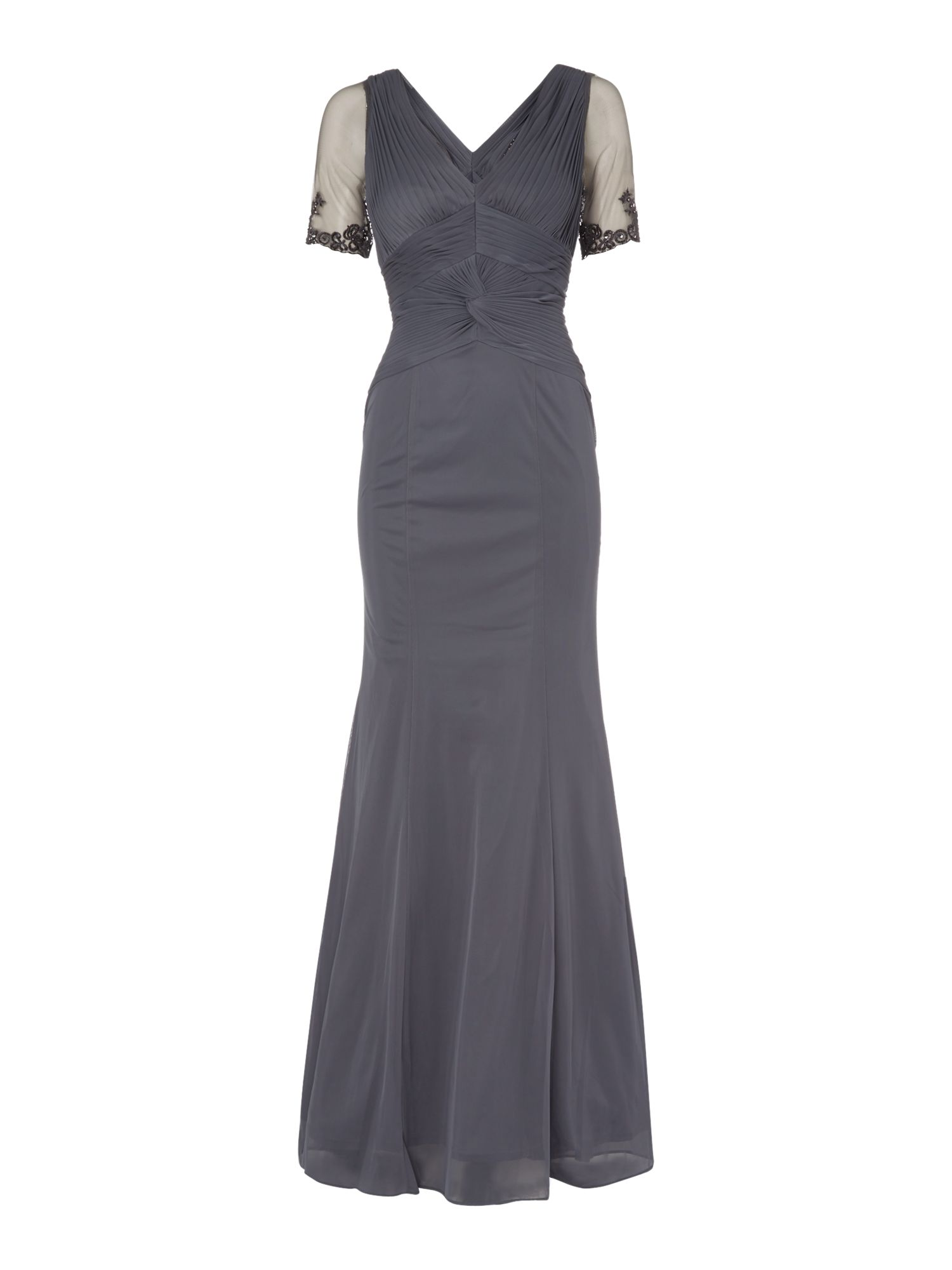 Adrianna Papell Lace Sheer Back Gown Smoke £92.00 AT vintagedancer.com