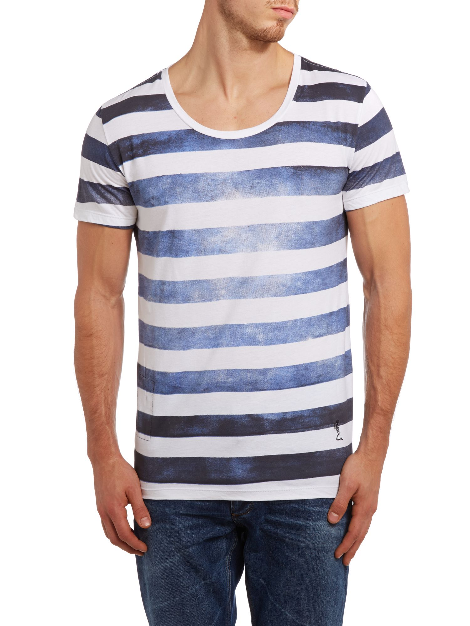 Painted stripes printed t shirt