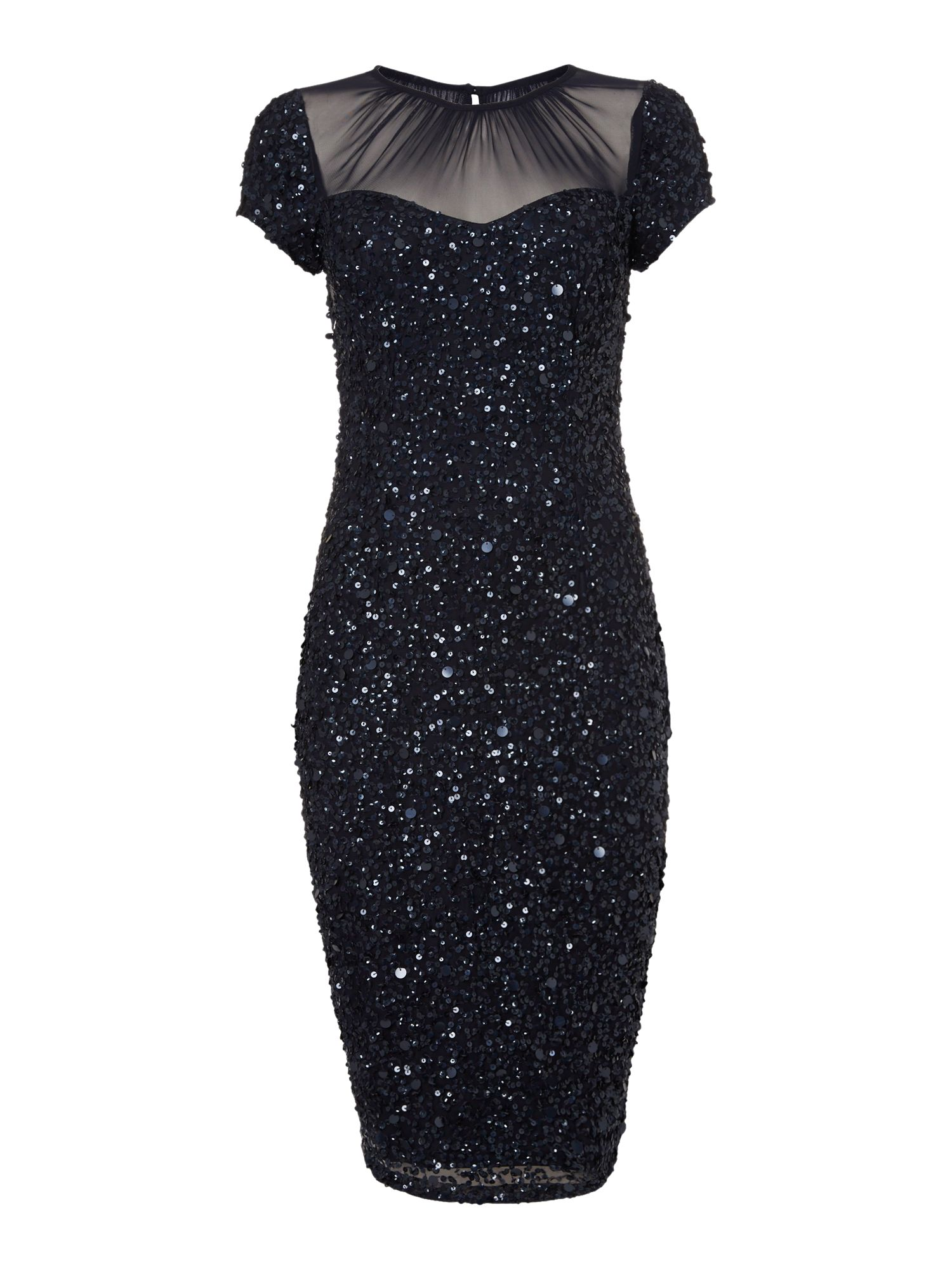 Sheer Neck Cap Sleeve Sequin