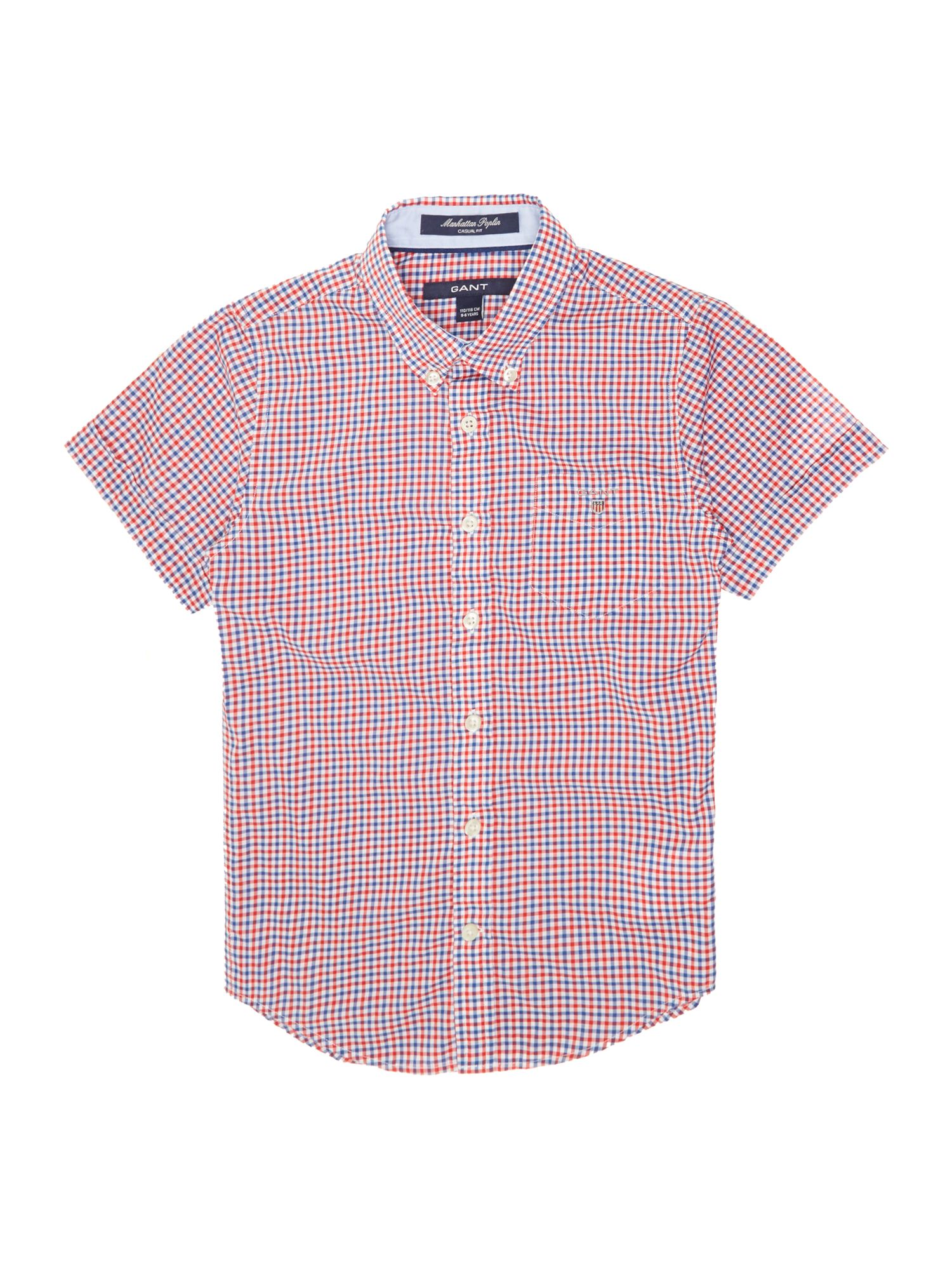 Boys gingham poplin shirt