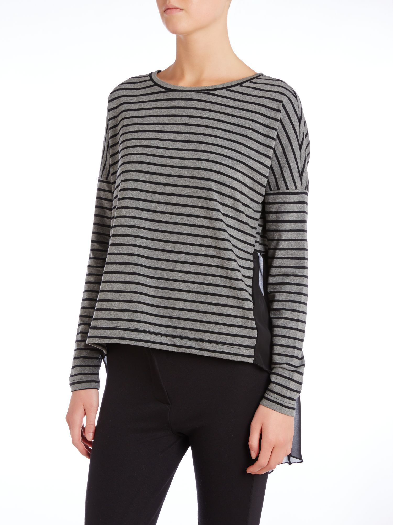 Long sleeved striped chiffon back top