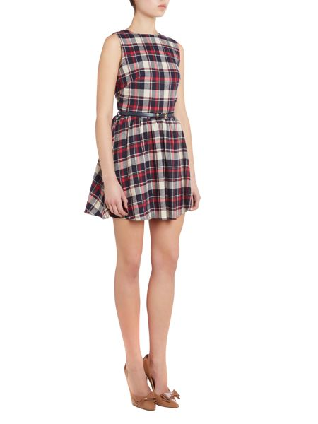 Neon Rose Checked skater dress with belt