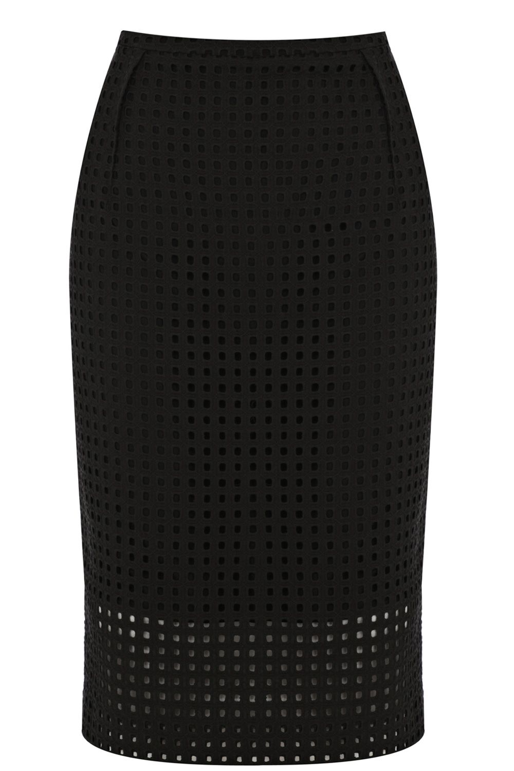 Broderie square pencil skirt