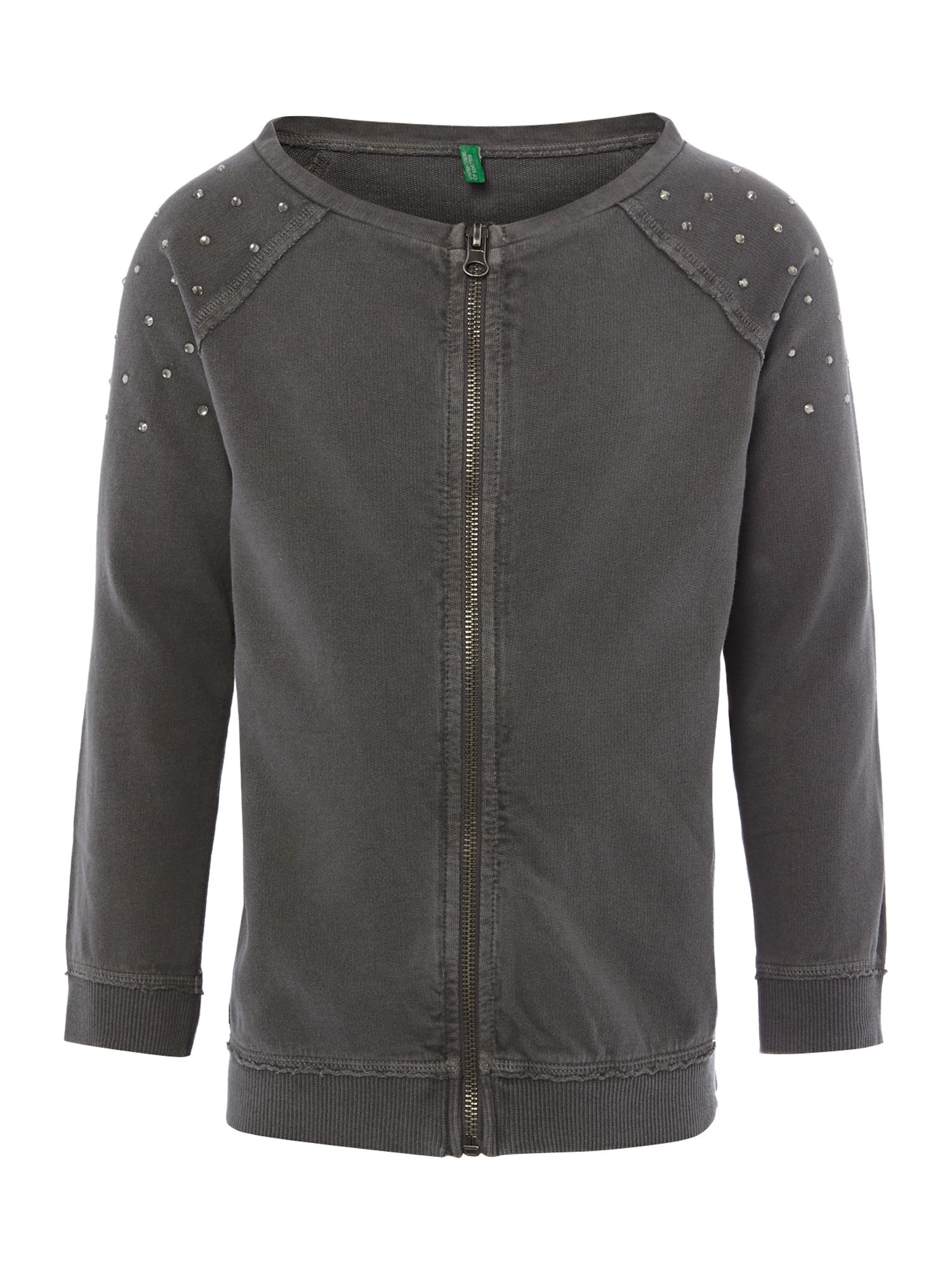 Girls gem detail zip through sweat