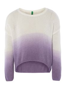 Girls dip dye knit jumper