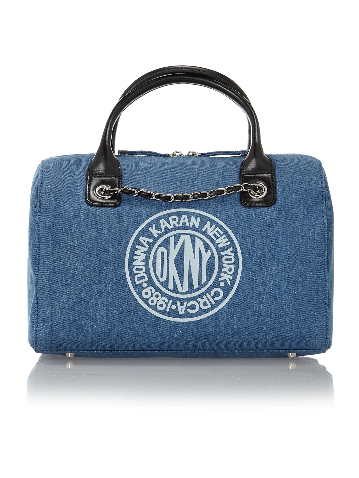 Denim logo bowling bag