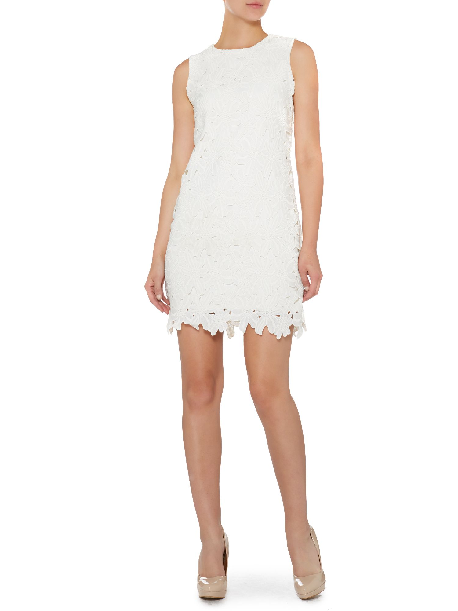 Lace cut shift dress