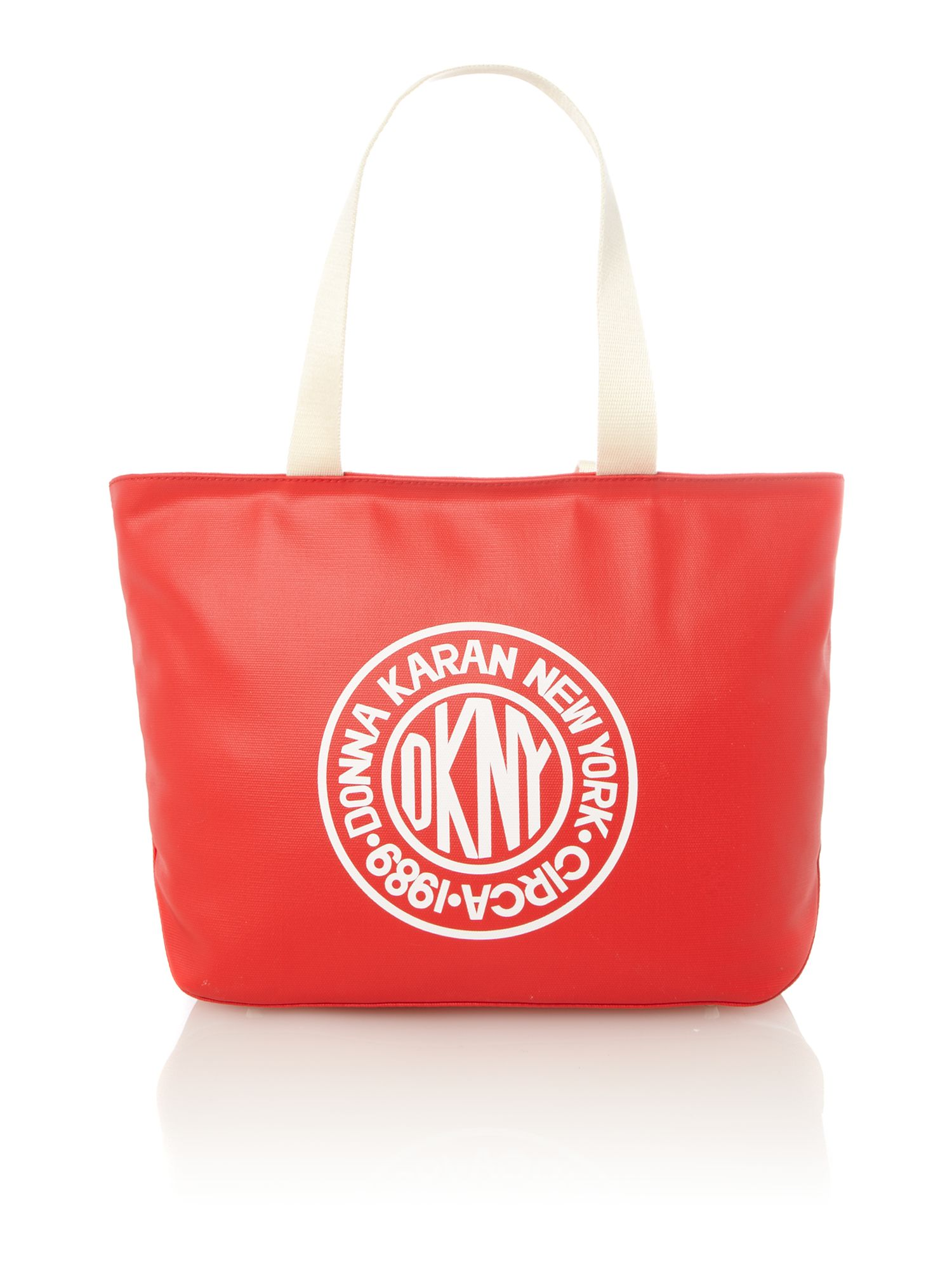 Canvas logo red tote bag
