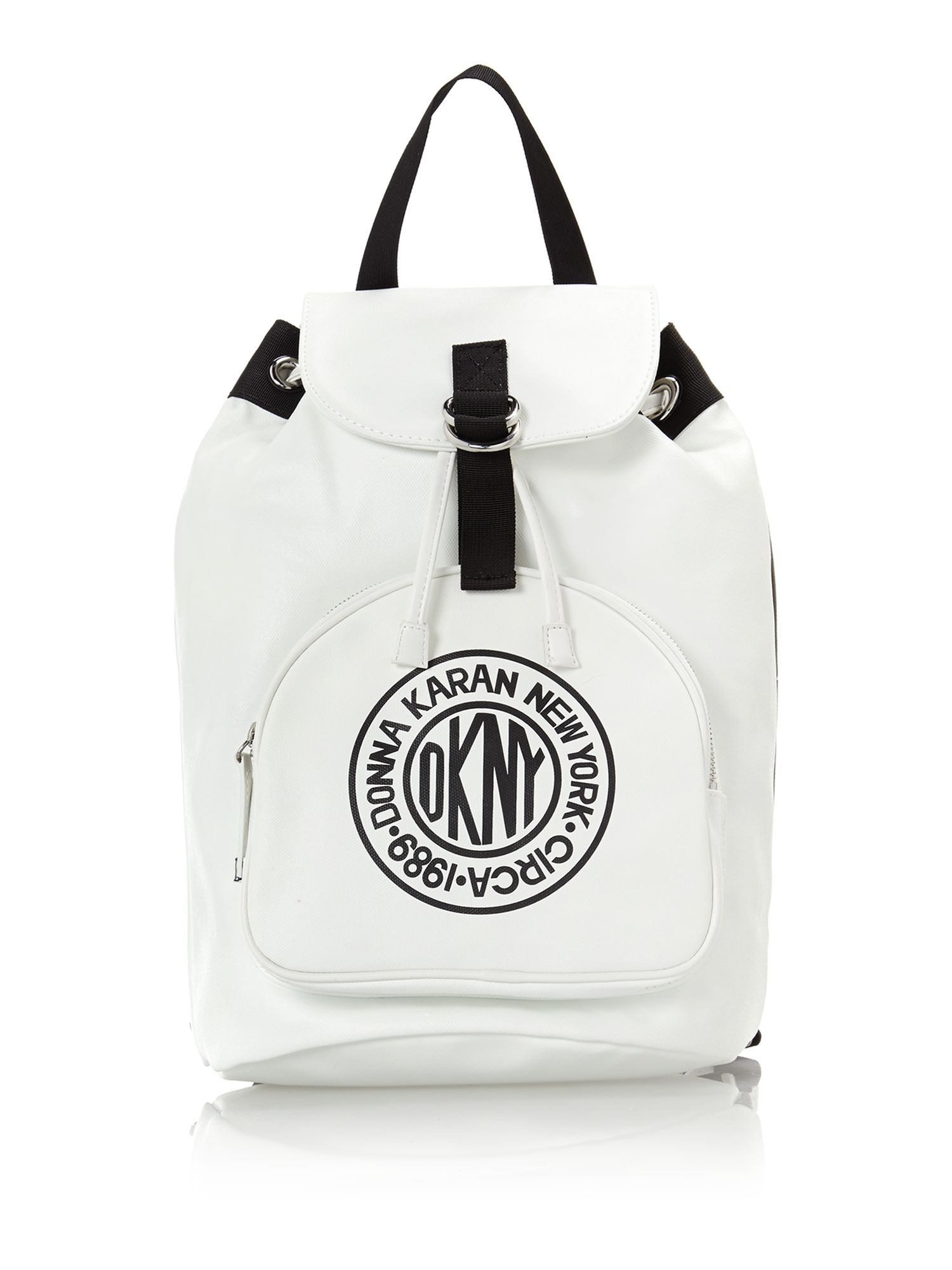Canvas logo white backpack bag