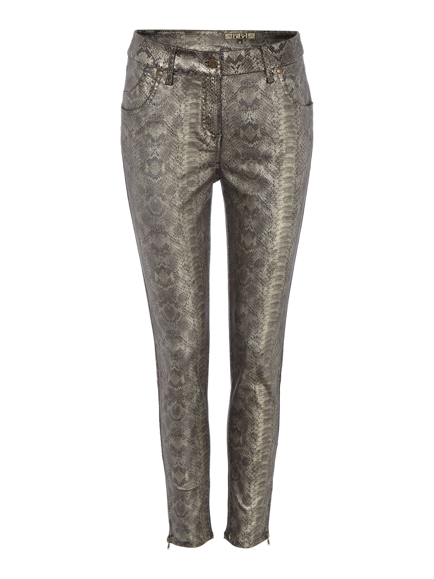 Snake print coated jeans
