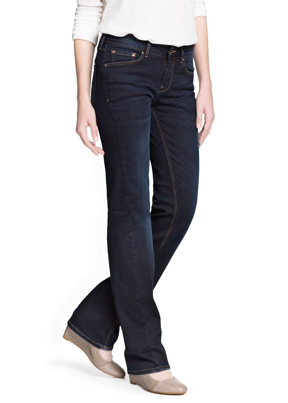 Straight-fit dark blue jeans