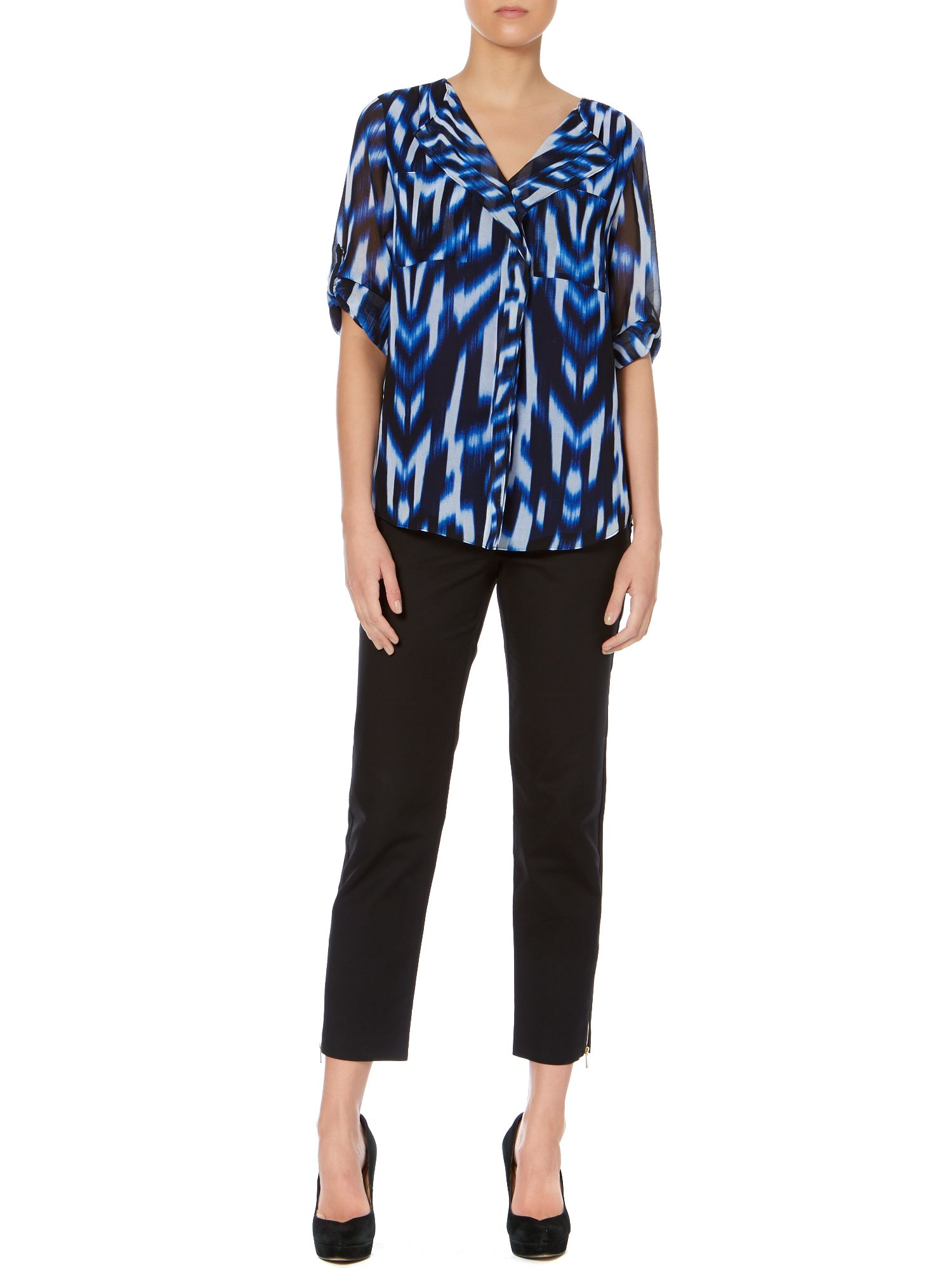 Print ruffle front top