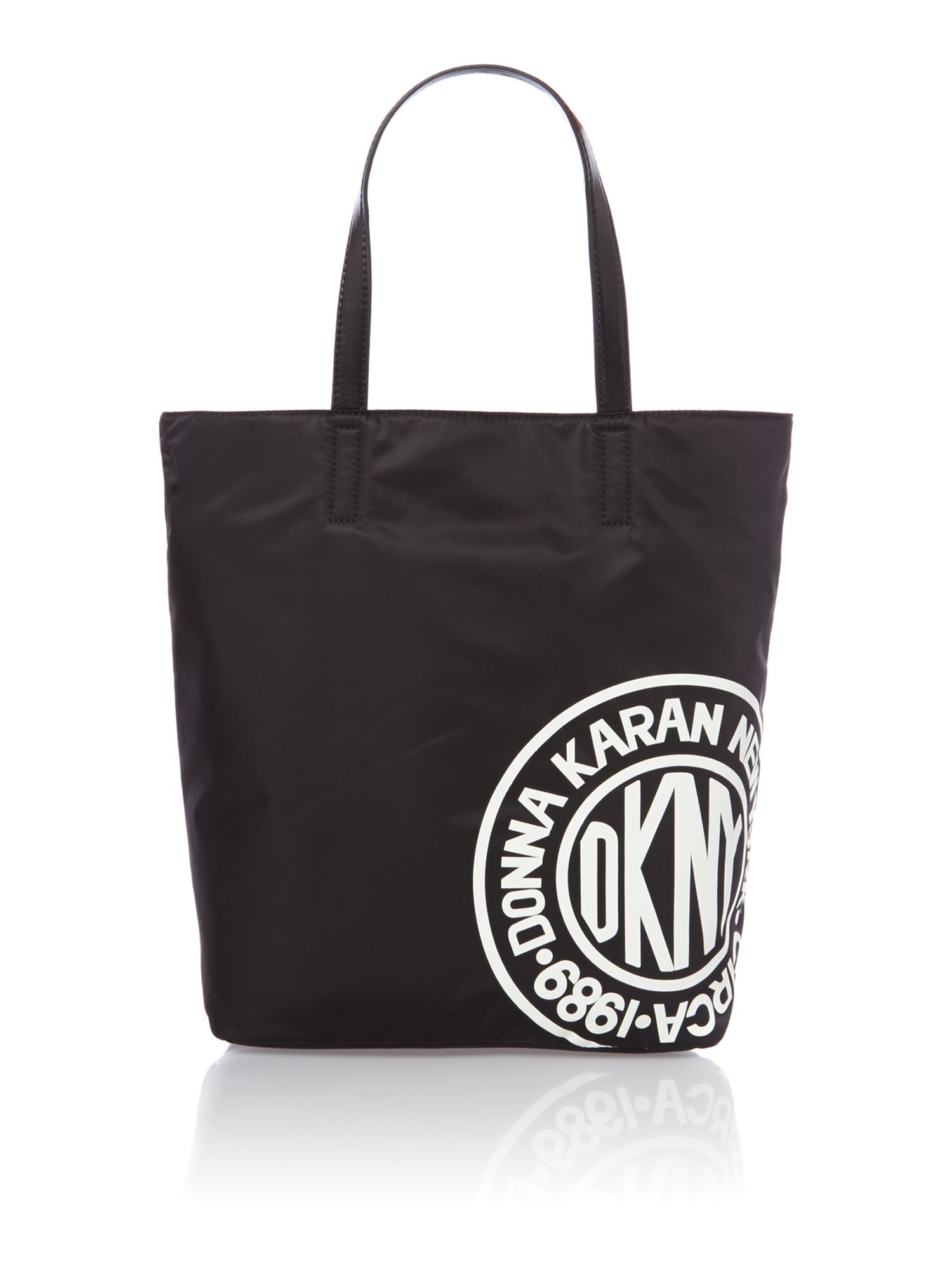 Nylon logo black tote bag