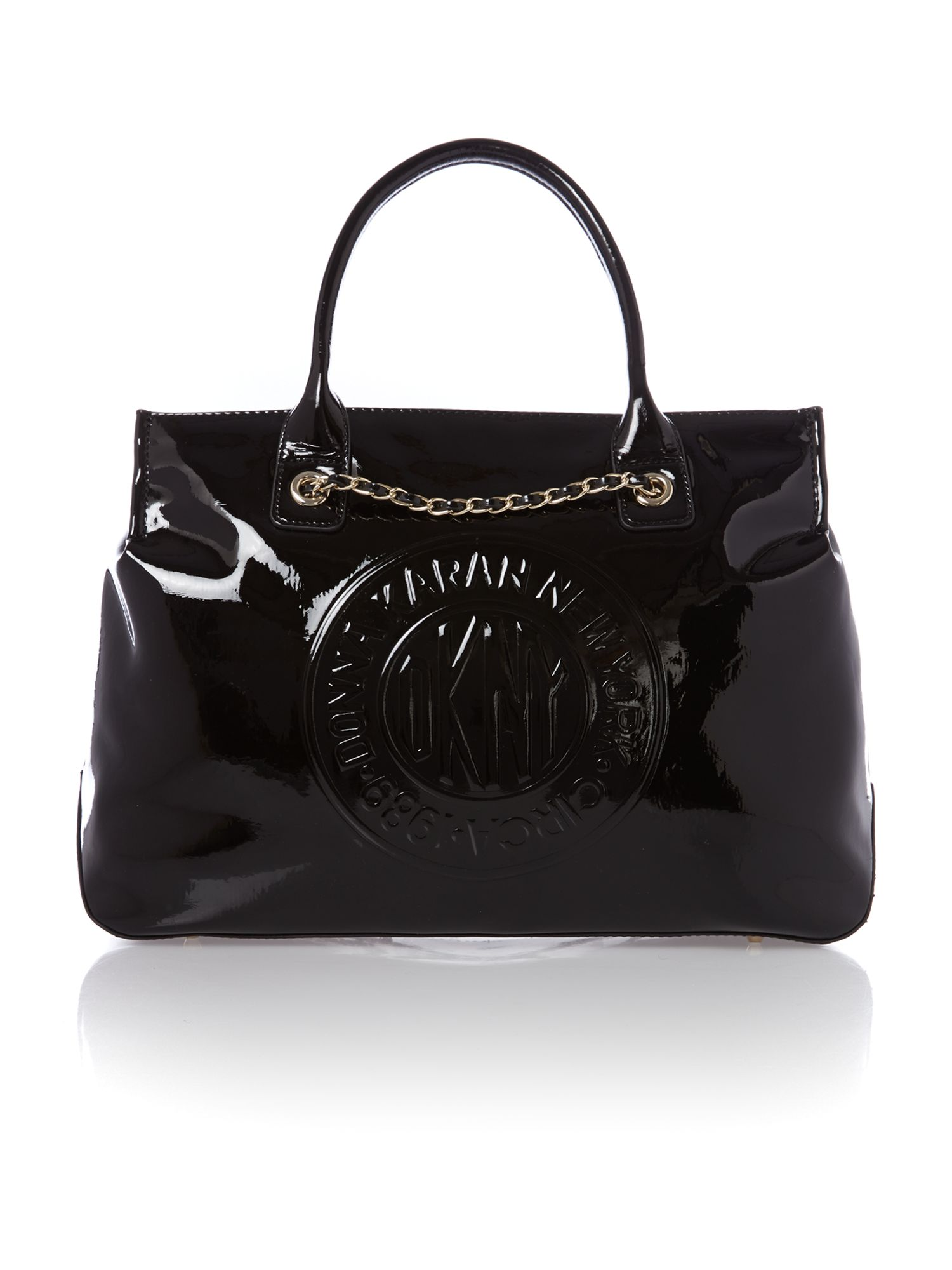 Patent black tote bag