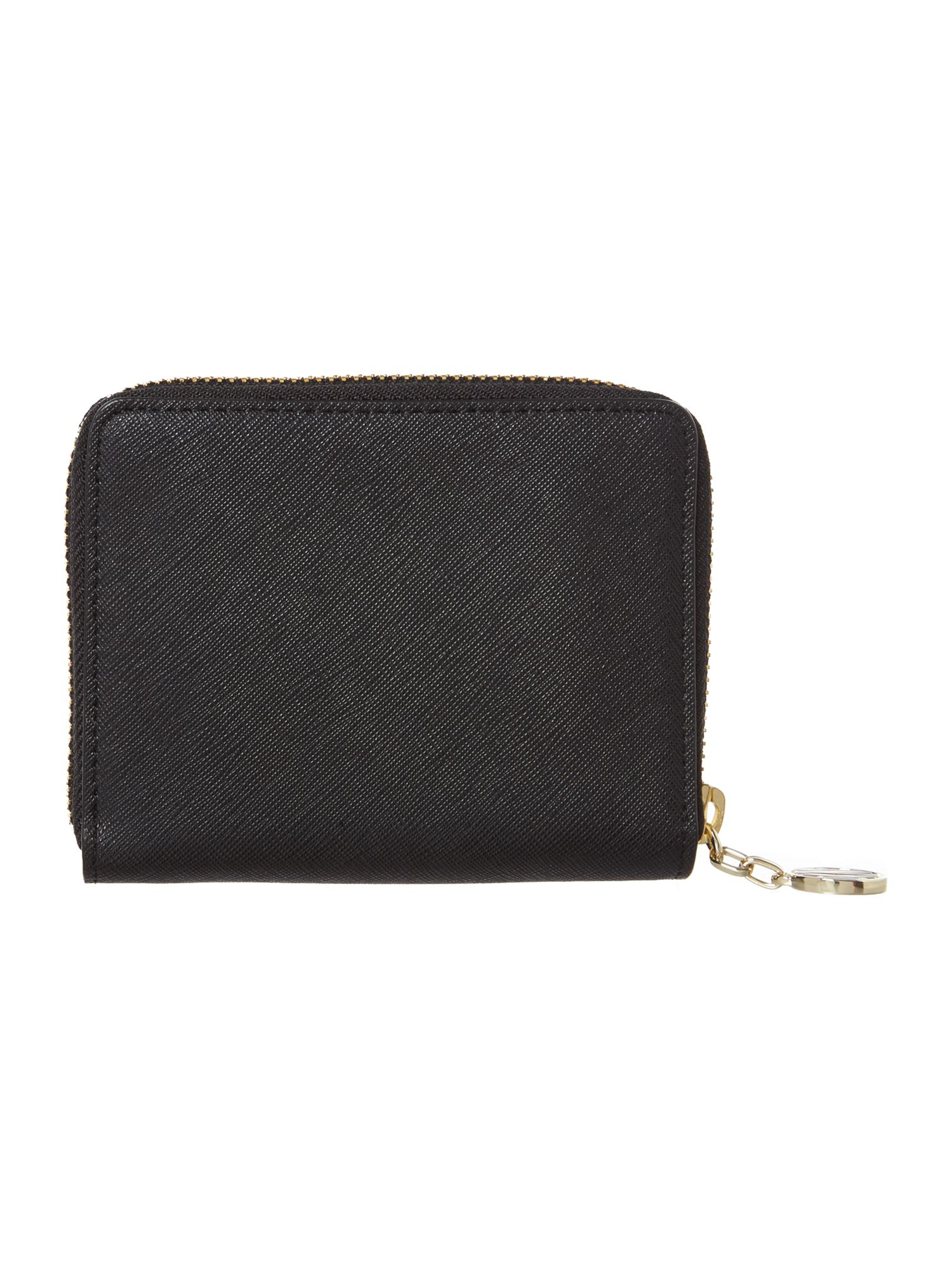 Saffiano black small zip around purse