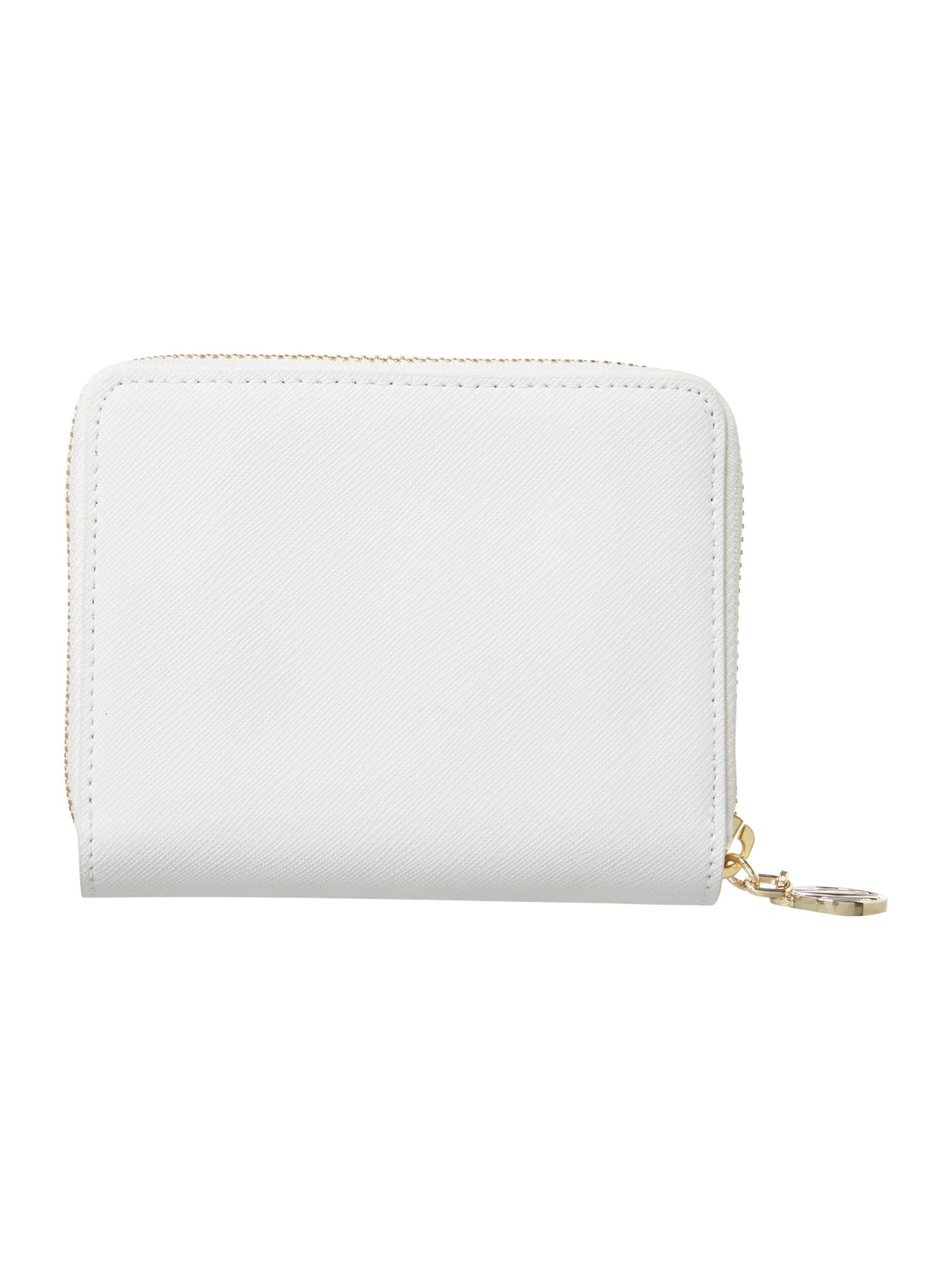 Saffiano white small zip around purse