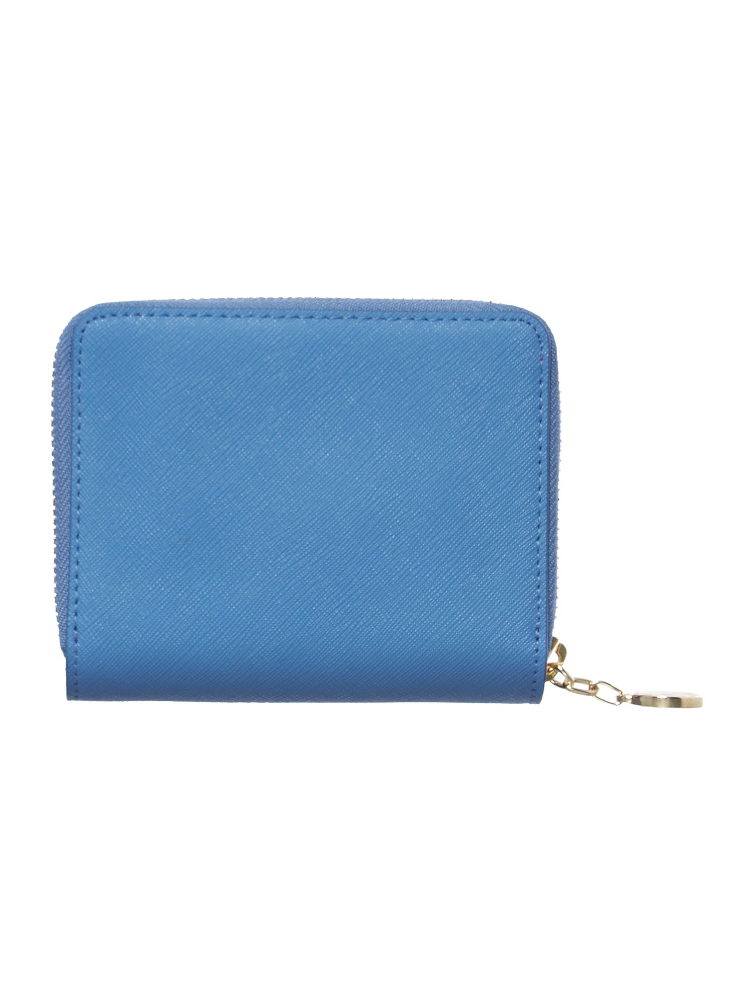 Saffiano blue small zip around purse