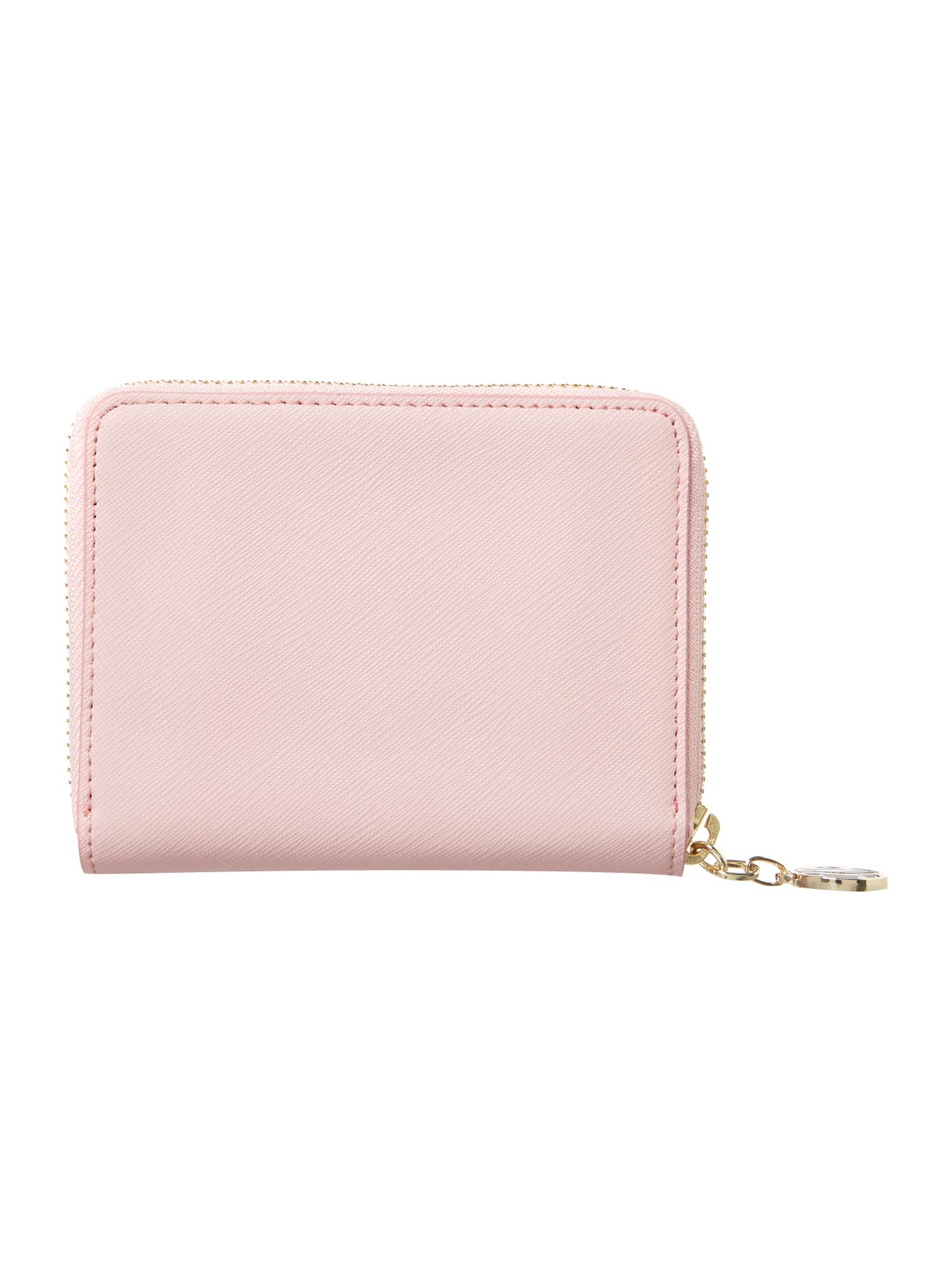 Saffiano pink small zip around purse