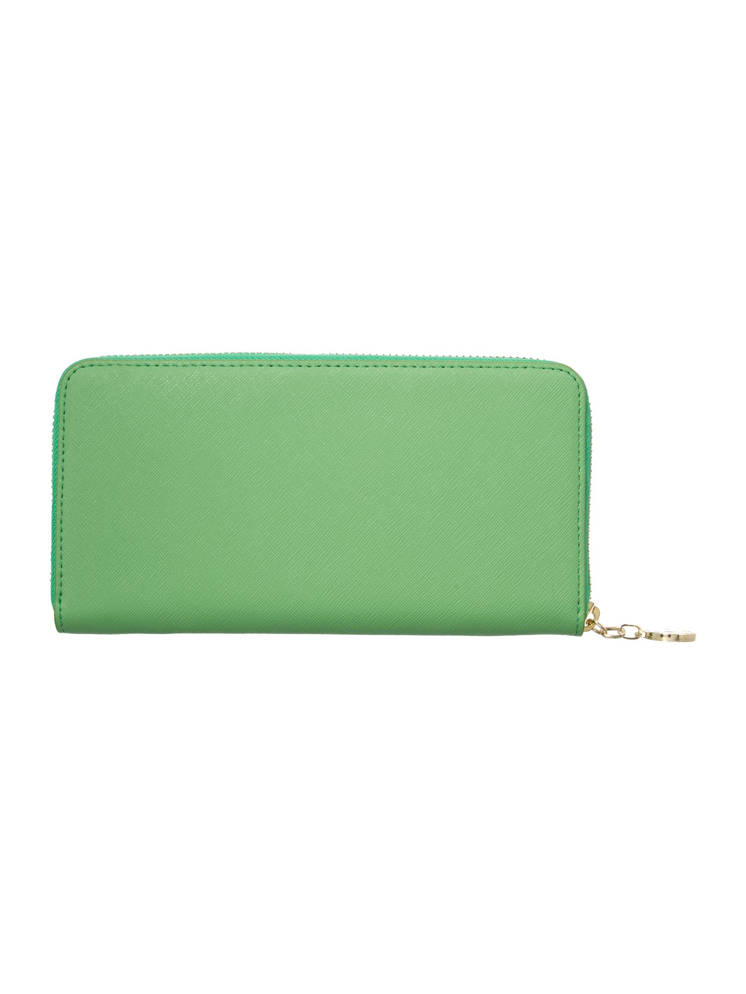 Saffiano green large zip around purse