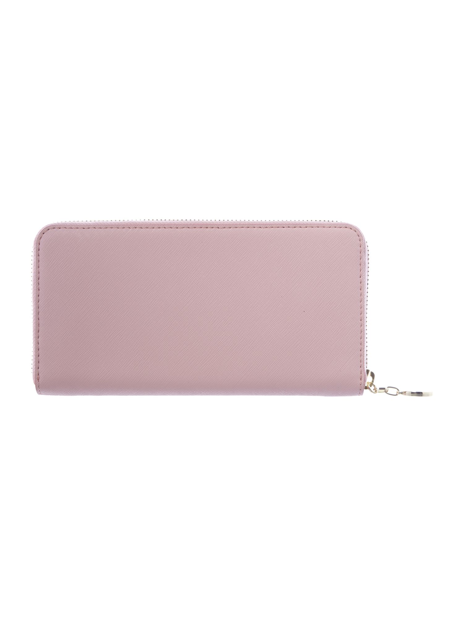 Saffiano pink large zip around purse