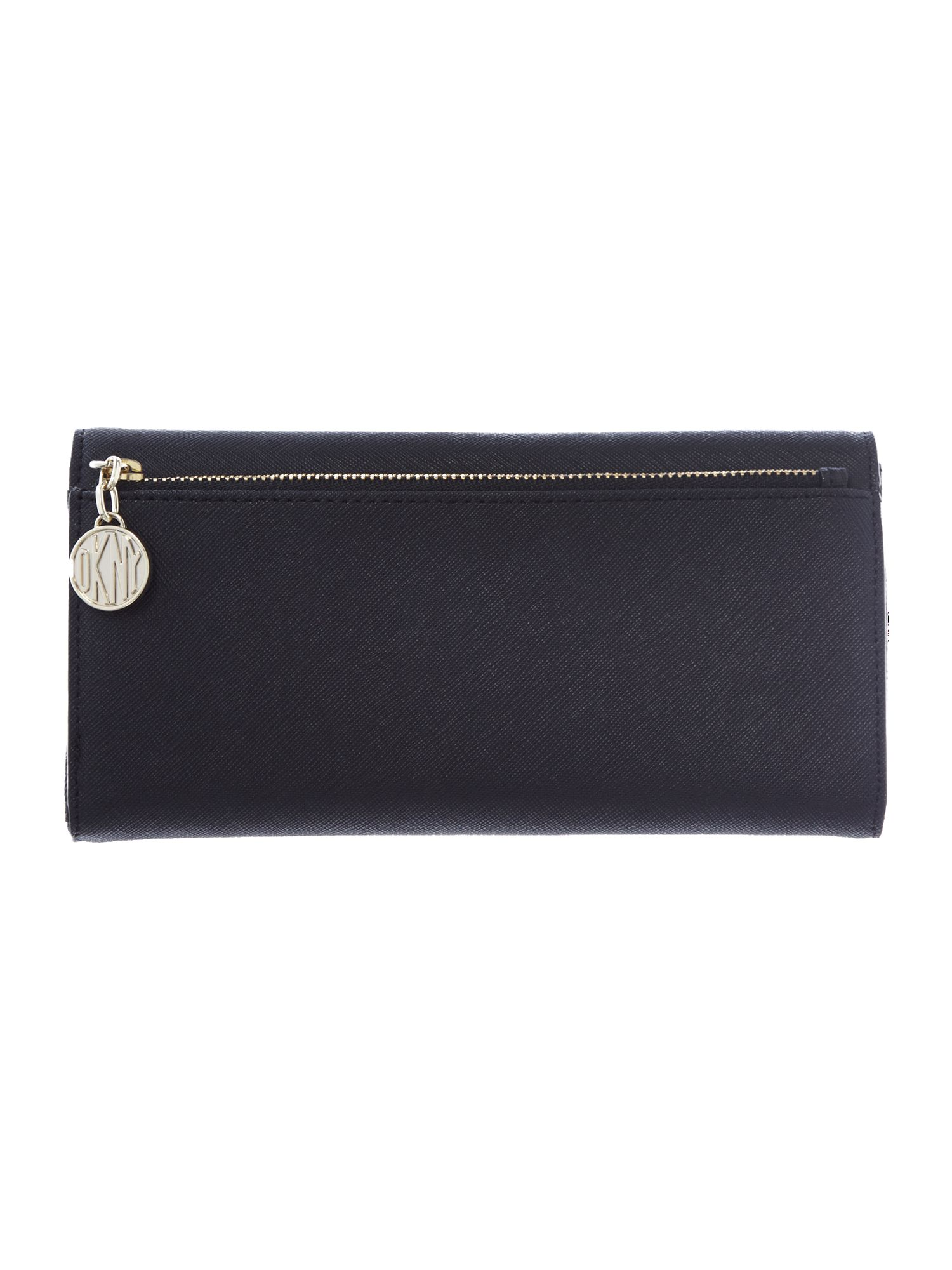Saffiano black large flap over pourse