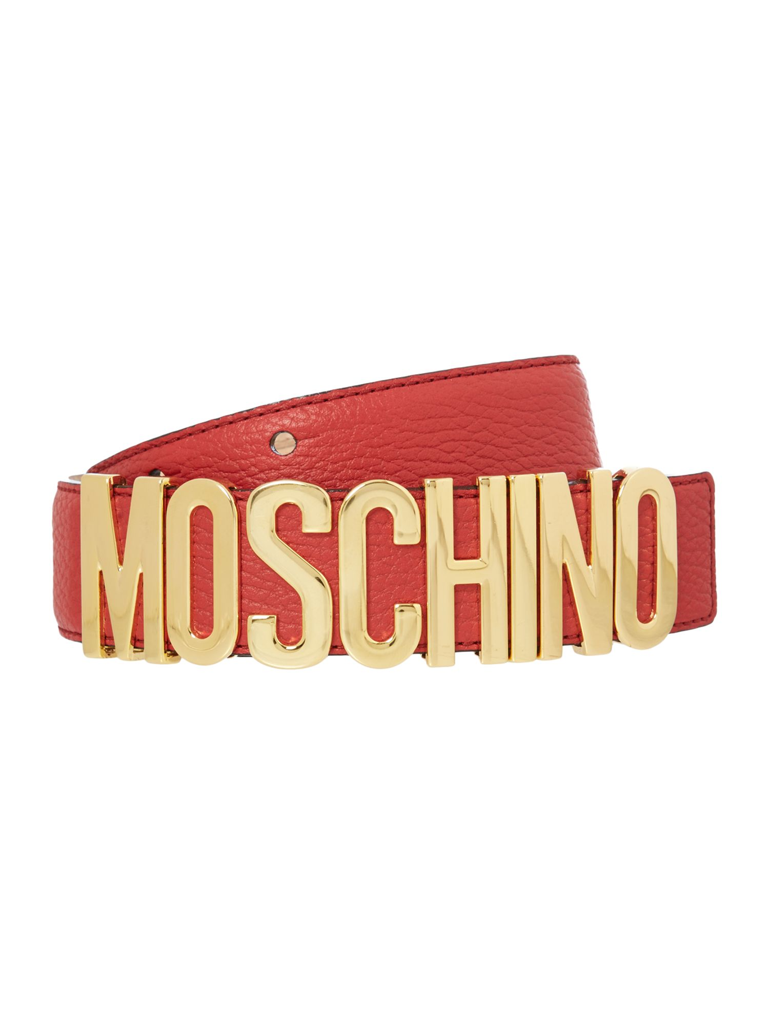 Moschino red logo belt