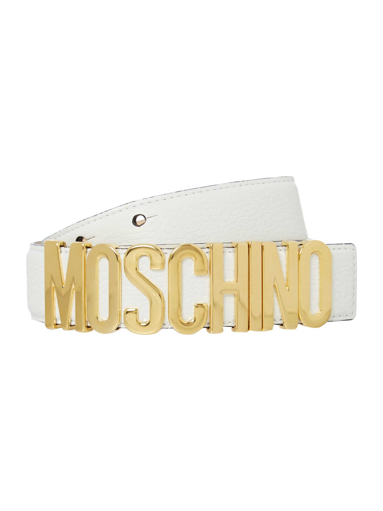 Moschino white logo belt