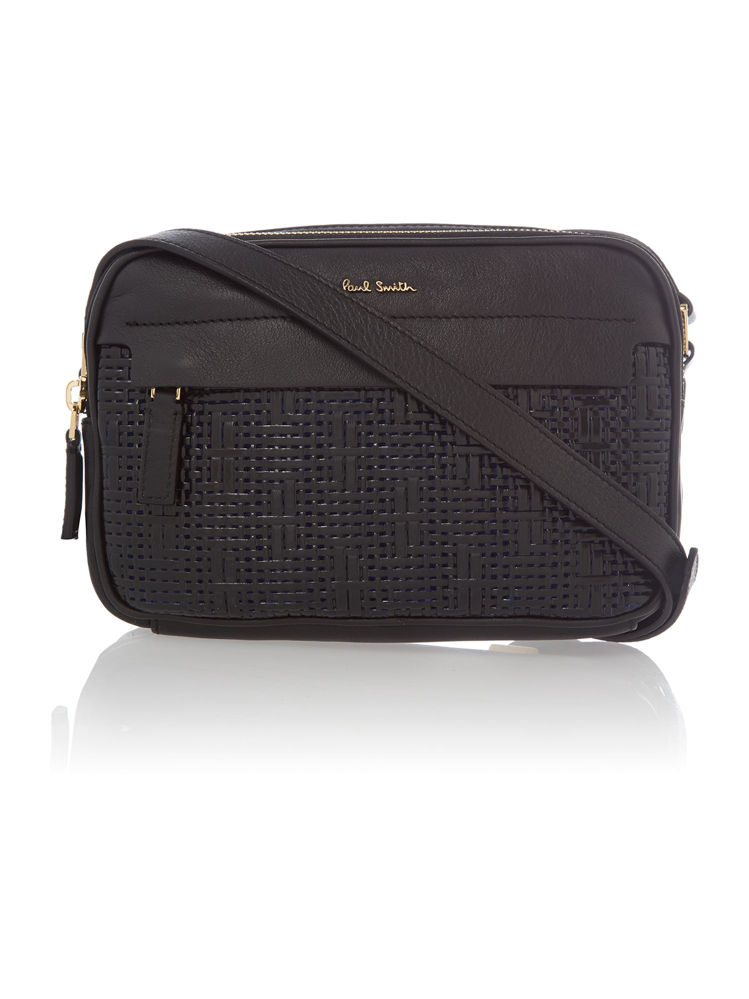 Textured Leather black woven mini cross body bag