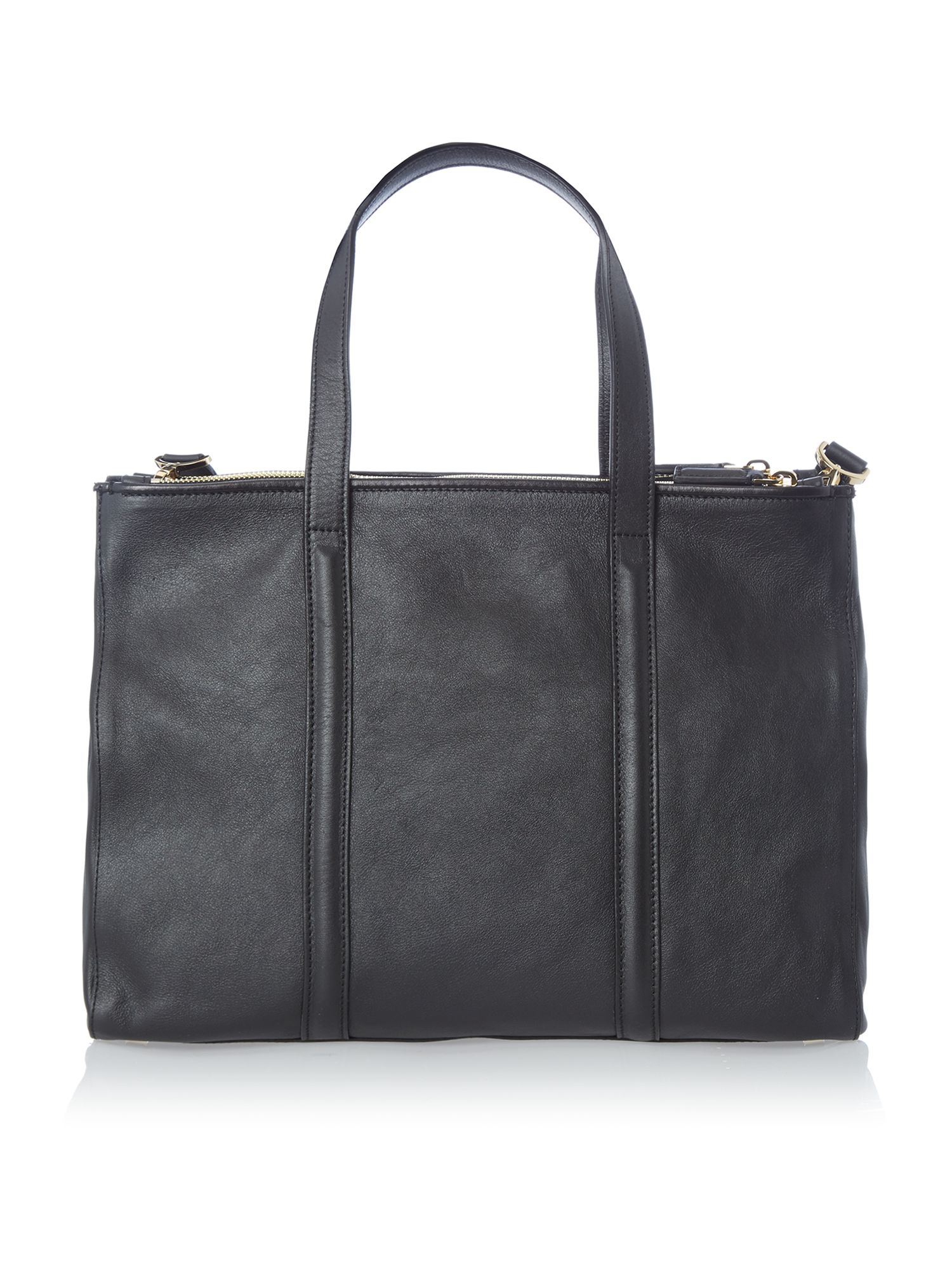 Textured Leather black woven tote bag