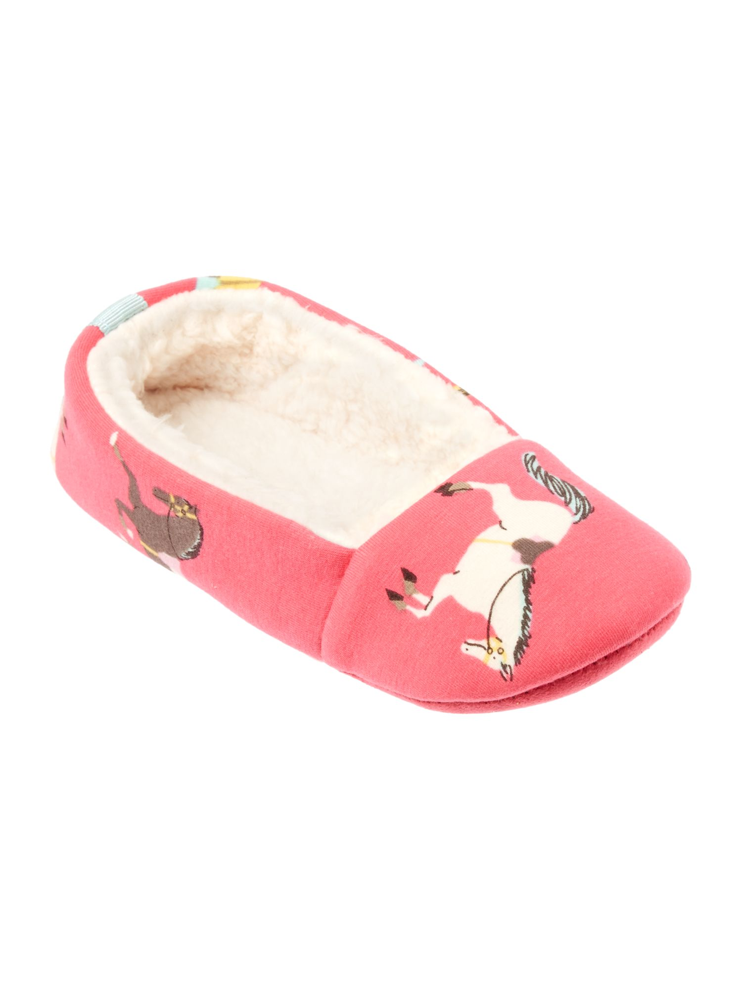 Girl`s pony print slippers