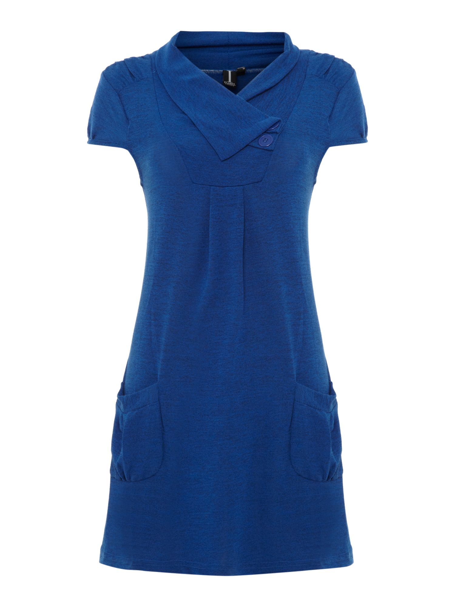 Cowl neck tunic top in marl